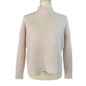 BDG Waffle Knit Turtle Neck Sweater Light Pink S